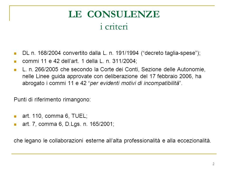 2 LE CONSULENZE i criteri DL n. 168/2004 convertito dalla L.