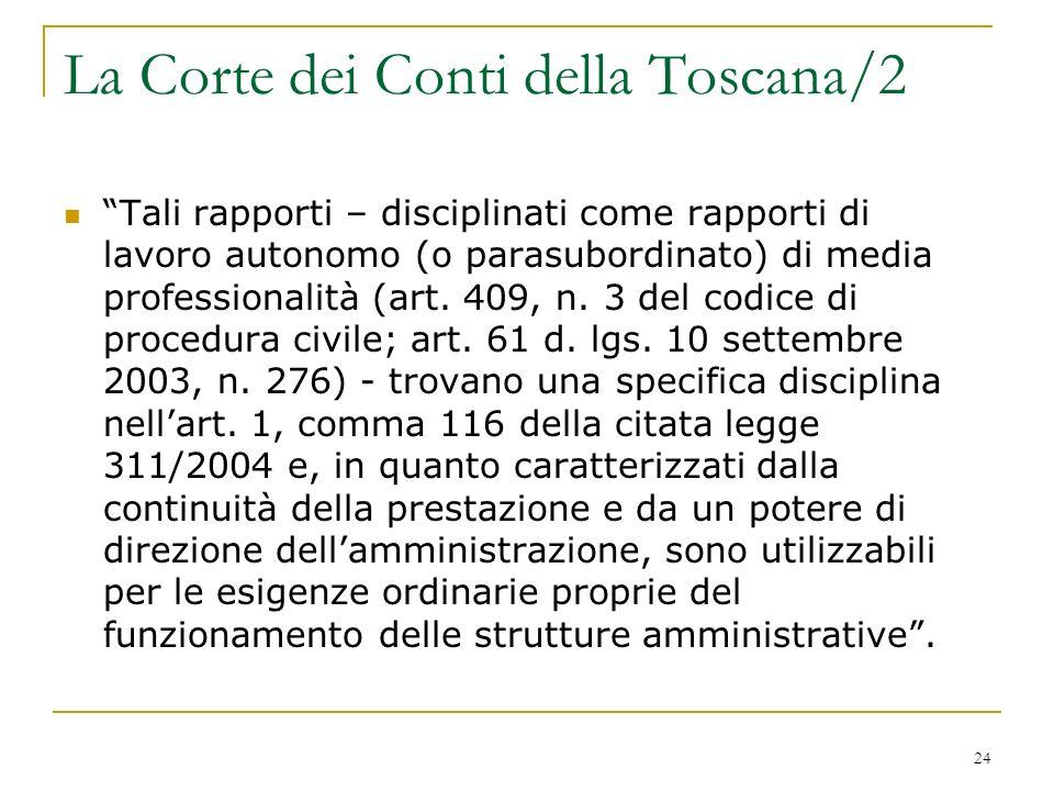 24 La Corte dei Conti della Toscana/2 Tali rapporti – disciplinati come rapporti di lavoro autonomo (o parasubordinato) di media professionalità (art.