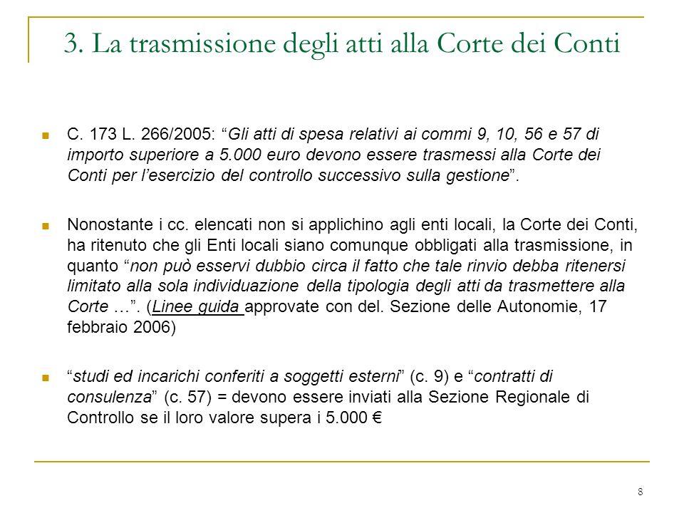 8 3. La trasmissione degli atti alla Corte dei Conti C.