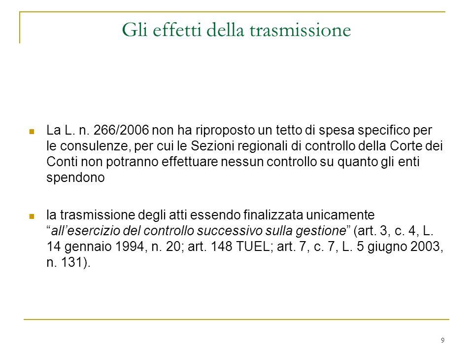 9 Gli effetti della trasmissione La L. n.