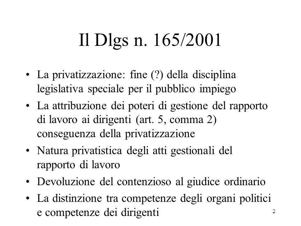 2 Il Dlgs n. 165/2001 La privatizzazione: fine (?) della disciplina legislativa speciale per il pubblico impiego La attribuzione dei poteri di gestion