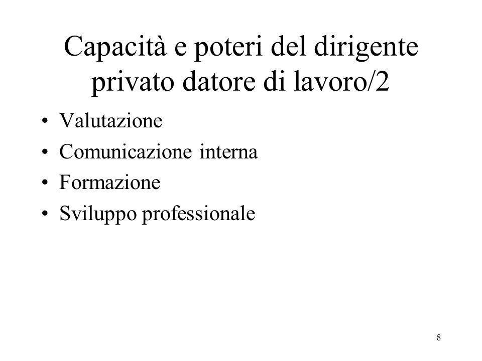 8 Capacità e poteri del dirigente privato datore di lavoro/2 Valutazione Comunicazione interna Formazione Sviluppo professionale