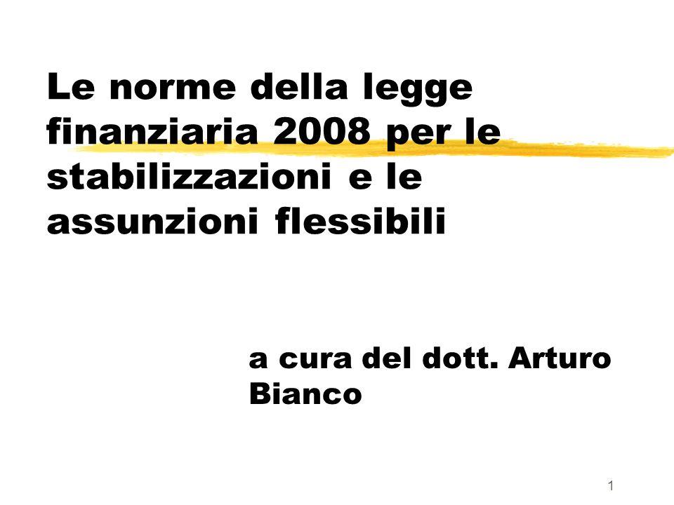 1 Le norme della legge finanziaria 2008 per le stabilizzazioni e le assunzioni flessibili a cura del dott.
