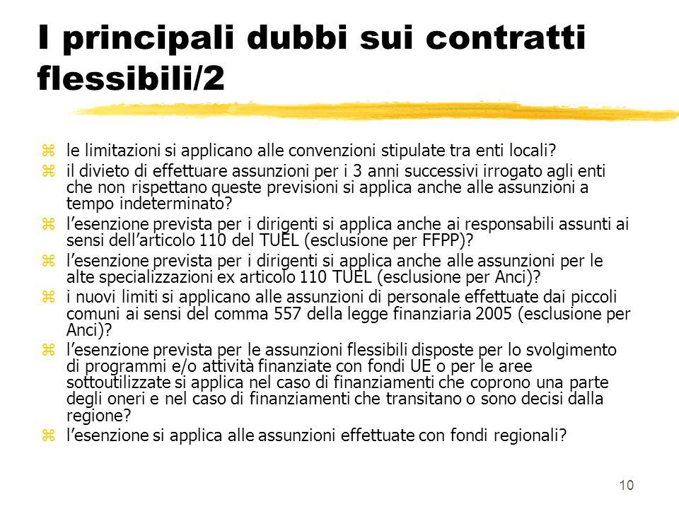 10 I principali dubbi sui contratti flessibili/2 zle limitazioni si applicano alle convenzioni stipulate tra enti locali.