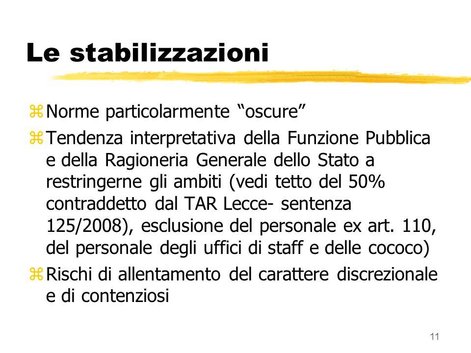 11 Le stabilizzazioni zNorme particolarmente oscure zTendenza interpretativa della Funzione Pubblica e della Ragioneria Generale dello Stato a restringerne gli ambiti (vedi tetto del 50% contraddetto dal TAR Lecce- sentenza 125/2008), esclusione del personale ex art.