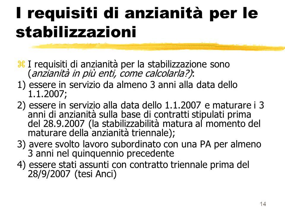14 I requisiti di anzianità per le stabilizzazioni zI requisiti di anzianità per la stabilizzazione sono (anzianità in più enti, come calcolarla ): 1) essere in servizio da almeno 3 anni alla data dello 1.1.2007; 2) essere in servizio alla data dello 1.1.2007 e maturare i 3 anni di anzianità sulla base di contratti stipulati prima del 28.9.2007 (la stabilizzabilità matura al momento del maturare della anzianità triennale); 3) avere svolto lavoro subordinato con una PA per almeno 3 anni nel quinquennio precedente 4) essere stati assunti con contratto triennale prima del 28/9/2007 (tesi Anci)