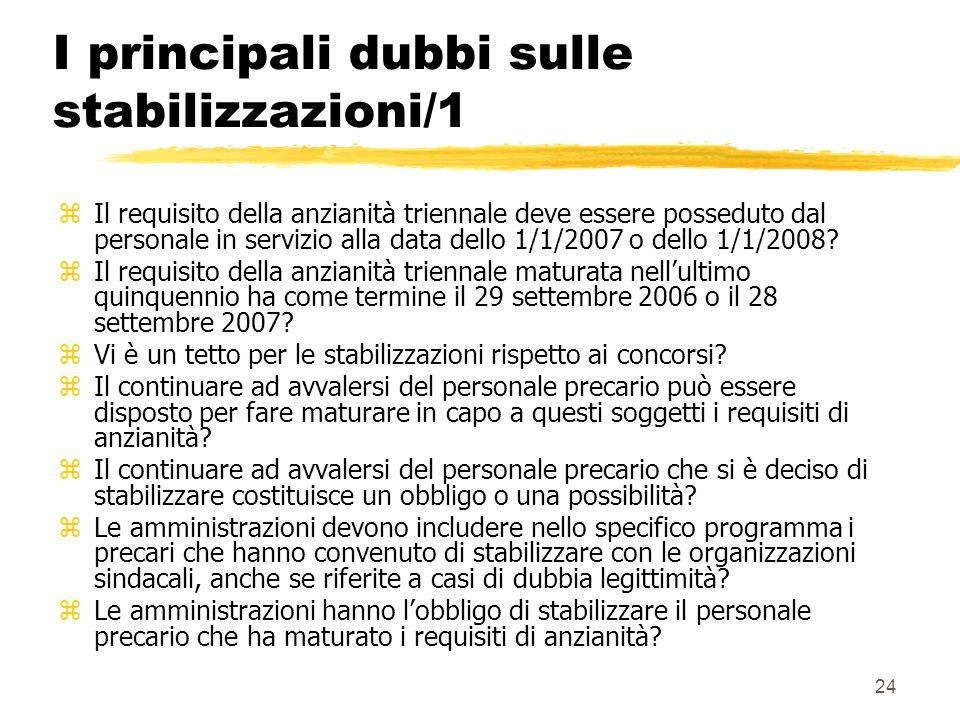 24 I principali dubbi sulle stabilizzazioni/1 zIl requisito della anzianità triennale deve essere posseduto dal personale in servizio alla data dello 1/1/2007 o dello 1/1/2008.