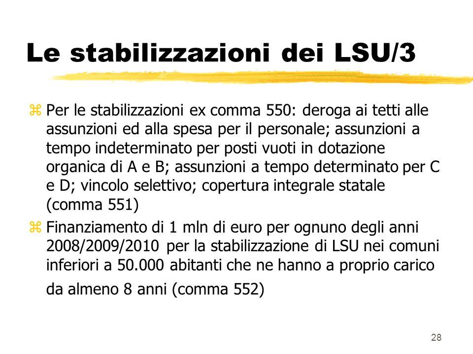 28 Le stabilizzazioni dei LSU/3 zPer le stabilizzazioni ex comma 550: deroga ai tetti alle assunzioni ed alla spesa per il personale; assunzioni a tempo indeterminato per posti vuoti in dotazione organica di A e B; assunzioni a tempo determinato per C e D; vincolo selettivo; copertura integrale statale (comma 551) zFinanziamento di 1 mln di euro per ognuno degli anni 2008/2009/2010 per la stabilizzazione di LSU nei comuni inferiori a 50.000 abitanti che ne hanno a proprio carico da almeno 8 anni (comma 552)