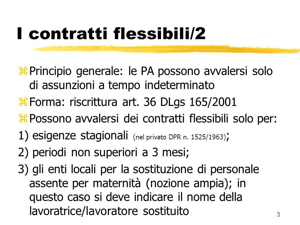 3 I contratti flessibili/2 zPrincipio generale: le PA possono avvalersi solo di assunzioni a tempo indeterminato zForma: riscrittura art.