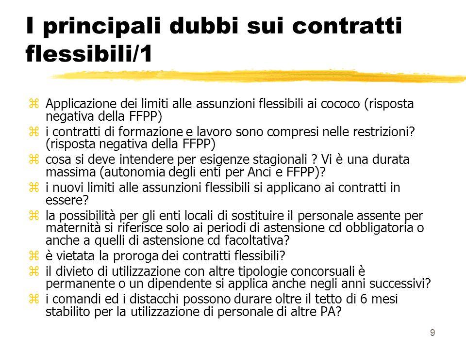 9 I principali dubbi sui contratti flessibili/1 zApplicazione dei limiti alle assunzioni flessibili ai cococo (risposta negativa della FFPP) zi contratti di formazione e lavoro sono compresi nelle restrizioni.