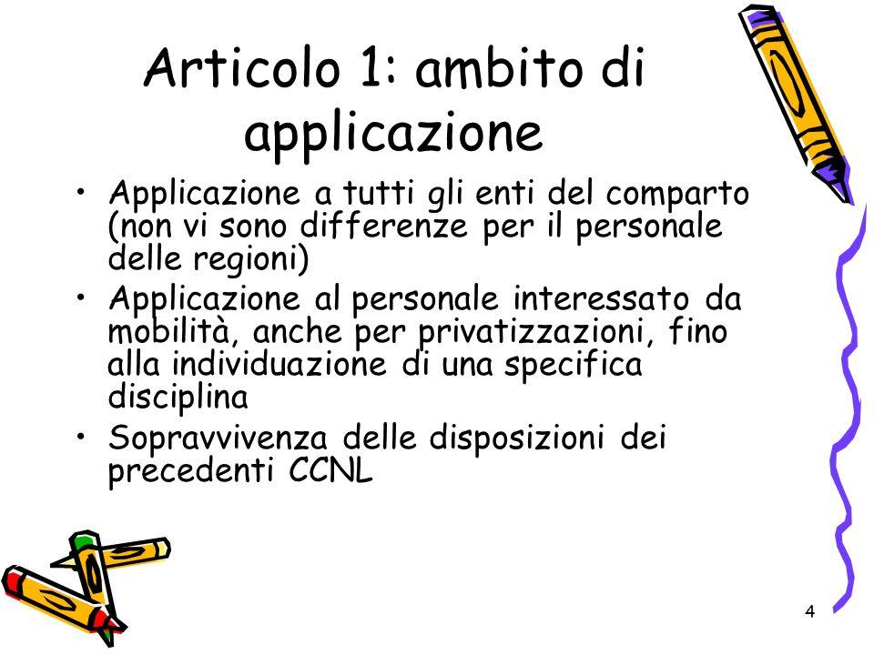 4 Articolo 1: ambito di applicazione Applicazione a tutti gli enti del comparto (non vi sono differenze per il personale delle regioni) Applicazione al personale interessato da mobilità, anche per privatizzazioni, fino alla individuazione di una specifica disciplina Sopravvivenza delle disposizioni dei precedenti CCNL