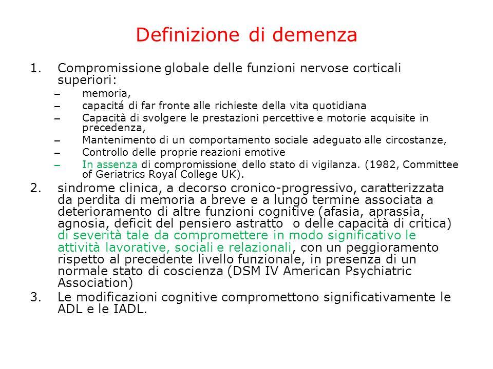 Definizione di demenza 1.Compromissione globale delle funzioni nervose corticali superiori: – memoria, – capacitá di far fronte alle richieste della v