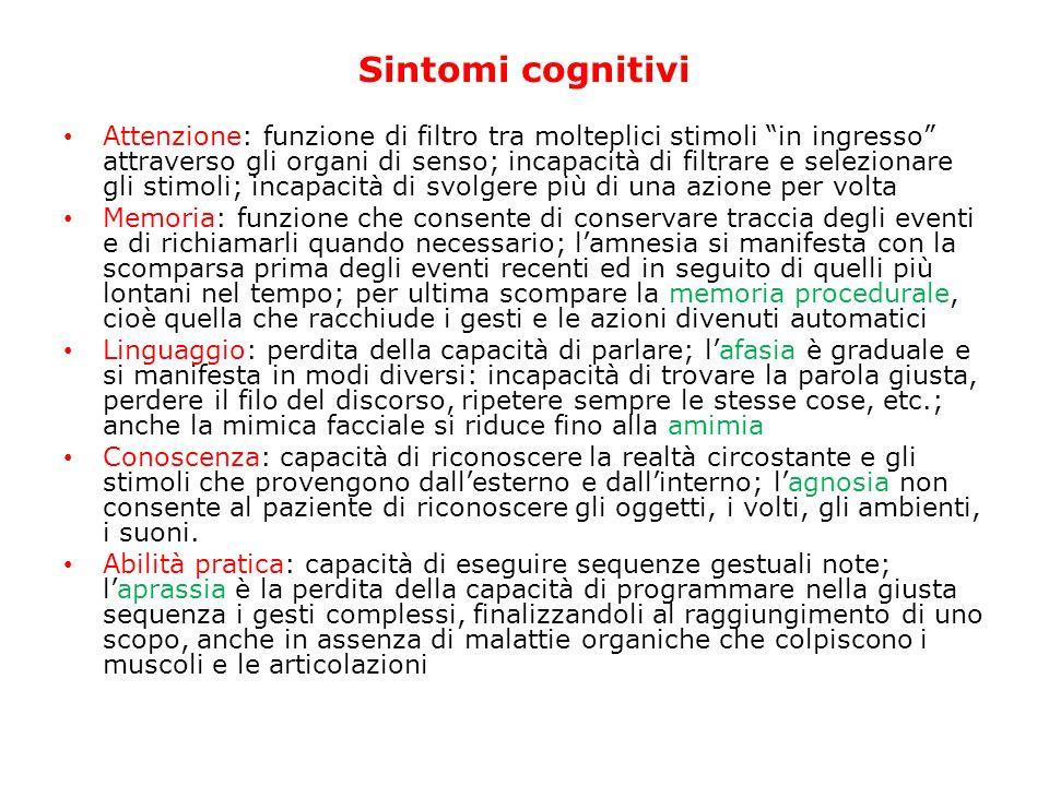 Sintomi cognitivi Attenzione: funzione di filtro tra molteplici stimoli in ingresso attraverso gli organi di senso; incapacità di filtrare e seleziona