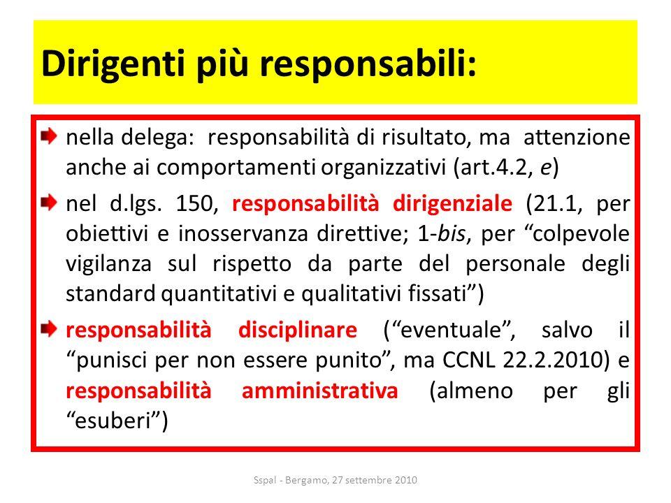 Dirigenti più responsabili: nella delega: responsabilità di risultato, ma attenzione anche ai comportamenti organizzativi (art.4.2, e) nel d.lgs.