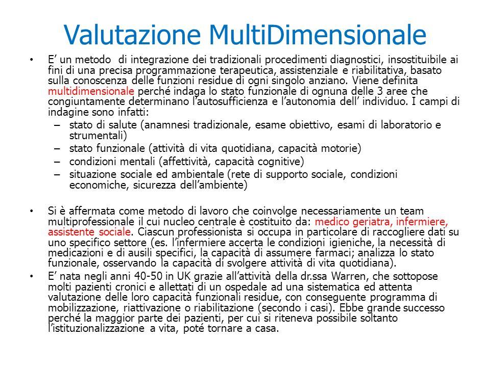 Valutazione MultiDimensionale E un metodo di integrazione dei tradizionali procedimenti diagnostici, insostituibile ai fini di una precisa programmazi