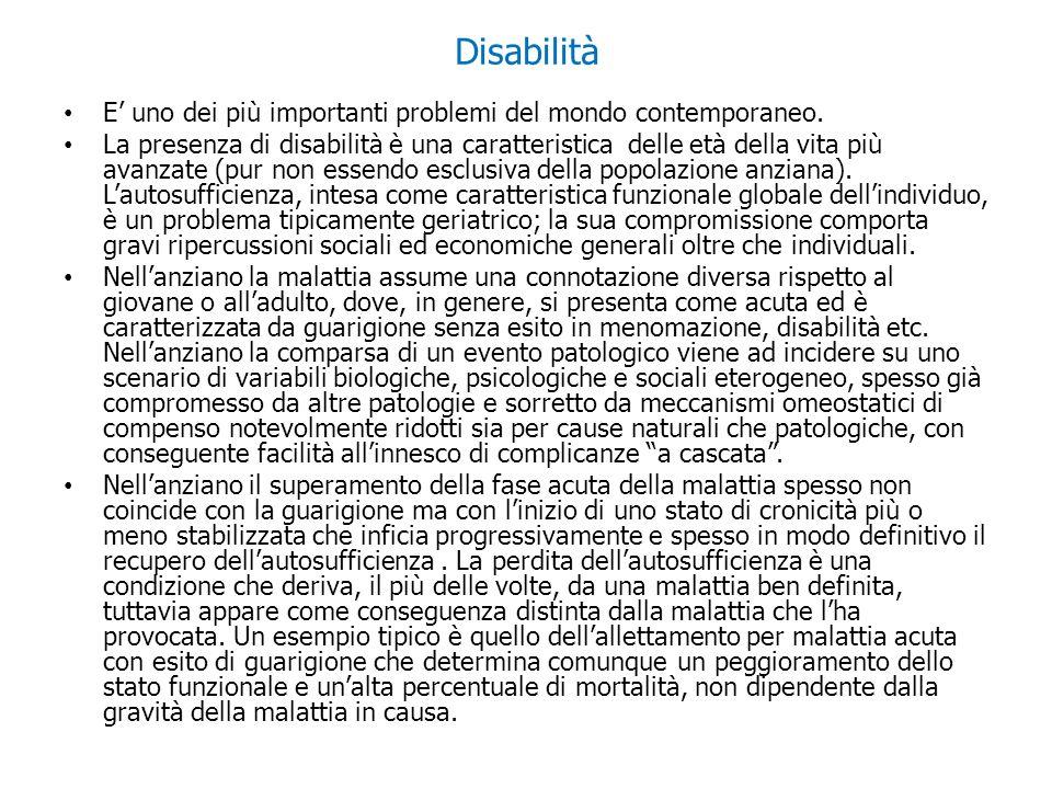 Disabilità E uno dei più importanti problemi del mondo contemporaneo. La presenza di disabilità è una caratteristica delle età della vita più avanzate