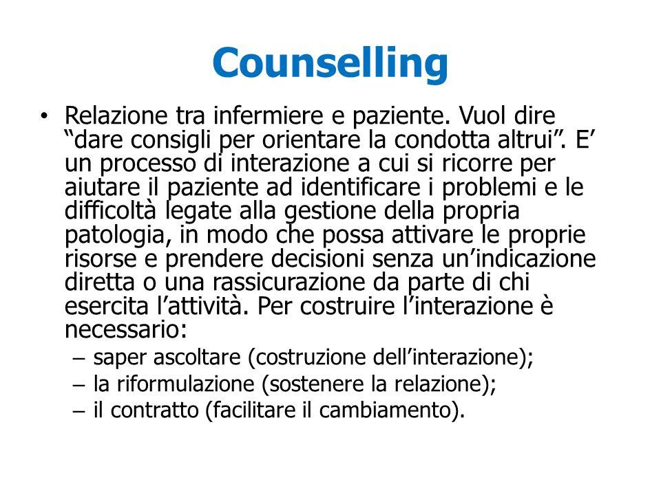 Counselling Relazione tra infermiere e paziente. Vuol dire dare consigli per orientare la condotta altrui. E un processo di interazione a cui si ricor