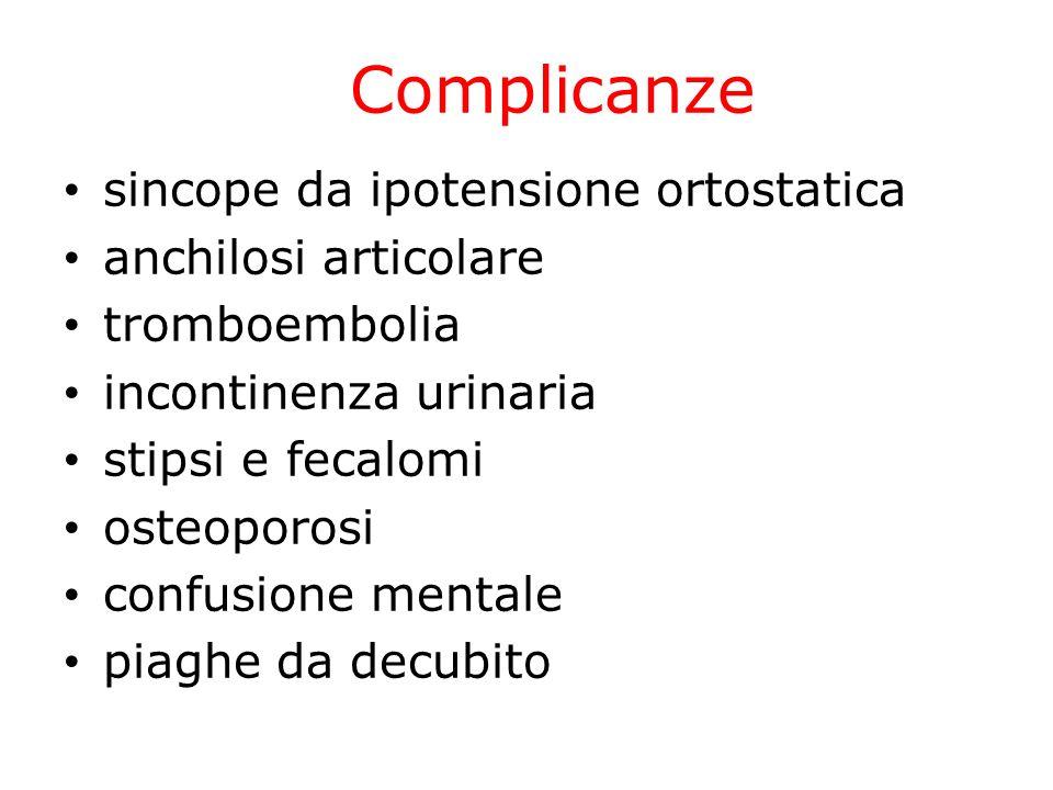 Complicanze sincope da ipotensione ortostatica anchilosi articolare tromboembolia incontinenza urinaria stipsi e fecalomi osteoporosi confusione menta