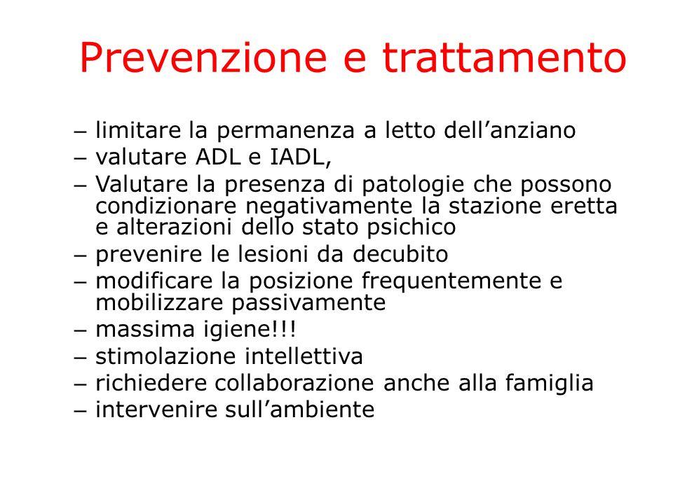 – limitare la permanenza a letto dellanziano – valutare ADL e IADL, – Valutare la presenza di patologie che possono condizionare negativamente la staz