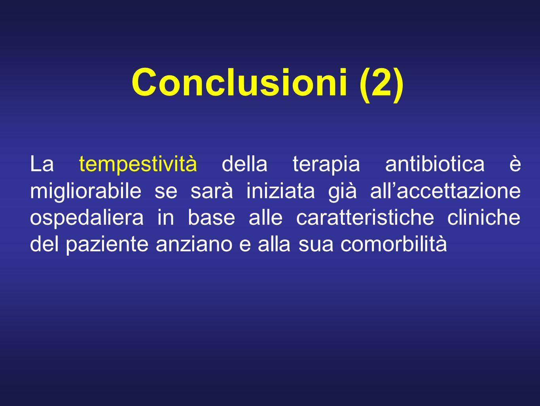 Conclusioni (2) La tempestività della terapia antibiotica è migliorabile se sarà iniziata già allaccettazione ospedaliera in base alle caratteristiche cliniche del paziente anziano e alla sua comorbilità