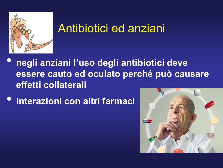 Antibiotici ed anziani negli anziani luso degli antibiotici deve essere cauto ed oculato perché può causare effetti collaterali interazioni con altri farmaci