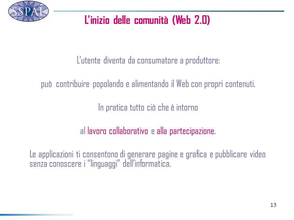 13 Linizio delle comunità (Web 2.0) Lutente diventa da consumatore a produttore: può contribuire popolando e alimentando il Web con propri contenuti.