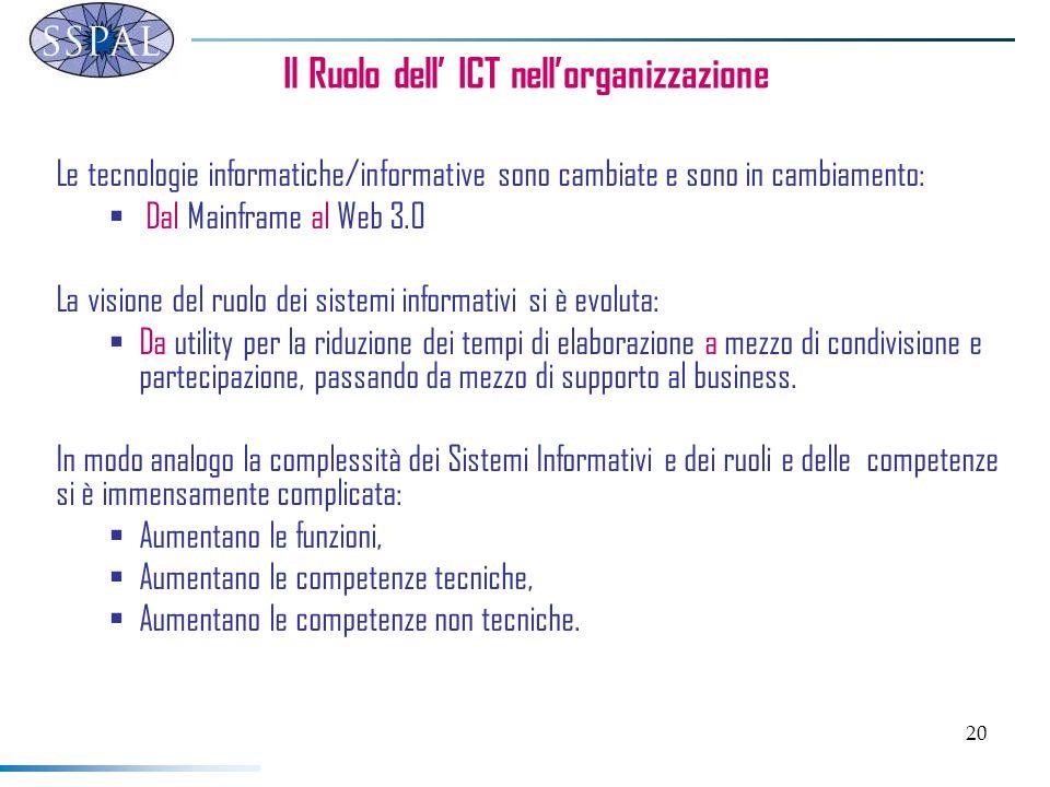 20 Il Ruolo dell ICT nellorganizzazione Le tecnologie informatiche/informative sono cambiate e sono in cambiamento: Dal Mainframe al Web 3.0 La visione del ruolo dei sistemi informativi si è evoluta: Da utility per la riduzione dei tempi di elaborazione a mezzo di condivisione e partecipazione, passando da mezzo di supporto al business.