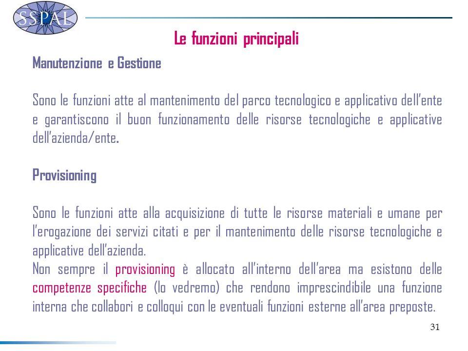 31 Le funzioni principali Manutenzione e Gestione Sono le funzioni atte al mantenimento del parco tecnologico e applicativo dellente e garantiscono il buon funzionamento delle risorse tecnologiche e applicative dellazienda/ente.