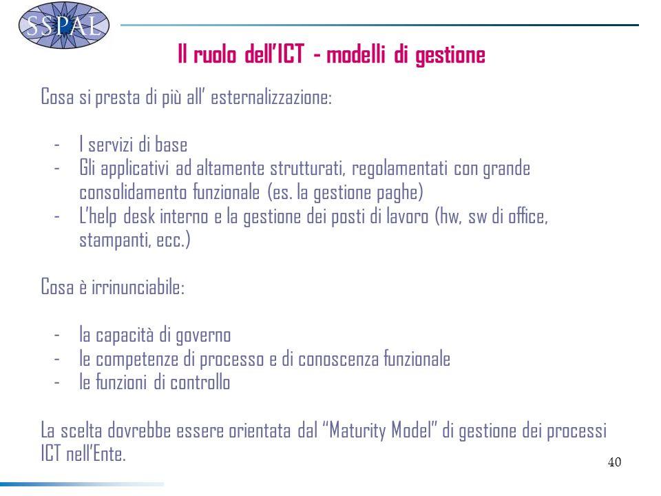 40 Il ruolo dellICT - modelli di gestione Cosa si presta di più all esternalizzazione: -I servizi di base -Gli applicativi ad altamente strutturati, regolamentati con grande consolidamento funzionale (es.