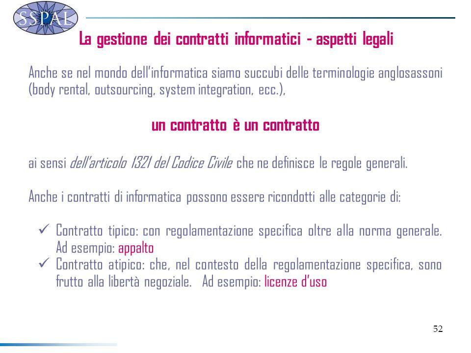 52 La gestione dei contratti informatici - aspetti legali Anche se nel mondo dellinformatica siamo succubi delle terminologie anglosassoni (body rental, outsourcing, system integration, ecc.), un contratto è un contratto ai sensi dellarticolo 1321 del Codice Civile che ne definisce le regole generali.