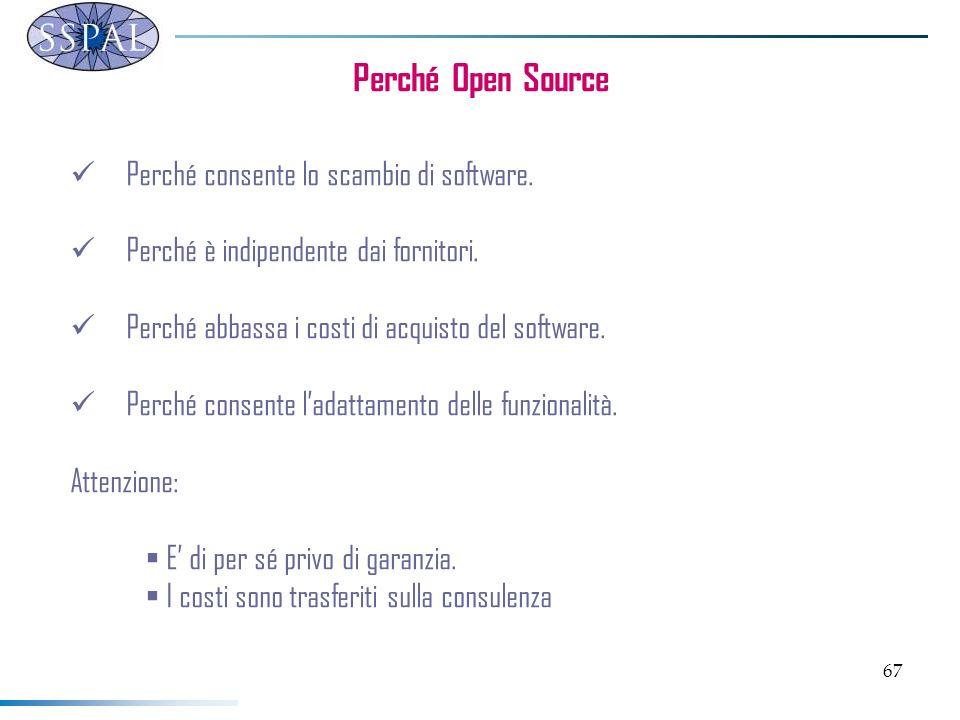 67 Perché Open Source Perché consente lo scambio di software.