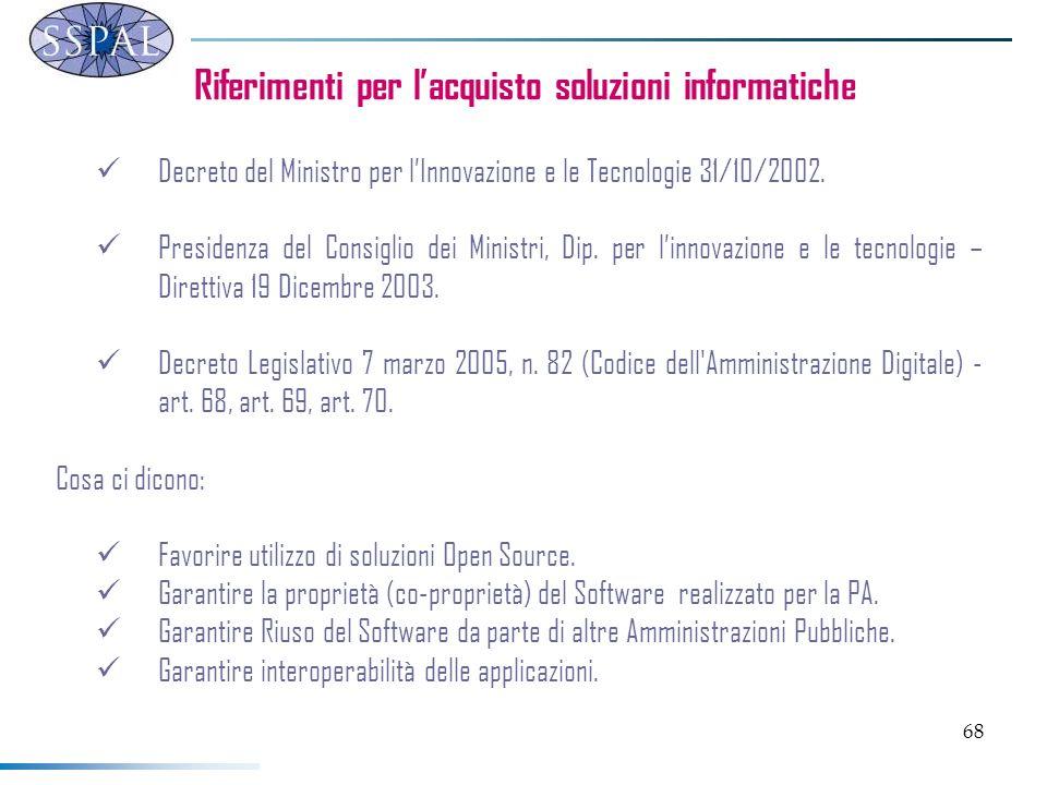 68 Riferimenti per lacquisto soluzioni informatiche Decreto del Ministro per lInnovazione e le Tecnologie 31/10/2002.