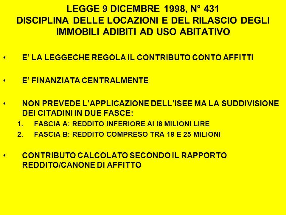 LEGGE 9 DICEMBRE 1998, N° 431 DISCIPLINA DELLE LOCAZIONI E DEL RILASCIO DEGLI IMMOBILI ADIBITI AD USO ABITATIVO E LA LEGGECHE REGOLA IL CONTRIBUTO CONTO AFFITTI E FINANZIATA CENTRALMENTE NON PREVEDE LAPPLICAZIONE DELLISEE MA LA SUDDIVISIONE DEI CITADINI IN DUE FASCE: 1.FASCIA A: REDDITO INFERIORE AI I8 MILIONI LIRE 2.FASCIA B: REDDITO COMPRESO TRA 18 E 25 MILIONI CONTRIBUTO CALCOLATO SECONDO IL RAPPORTO REDDITO/CANONE DI AFFITTO