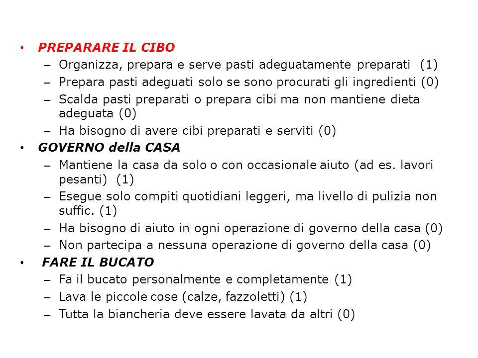 PREPARARE IL CIBO – Organizza, prepara e serve pasti adeguatamente preparati (1) – Prepara pasti adeguati solo se sono procurati gli ingredienti (0) –
