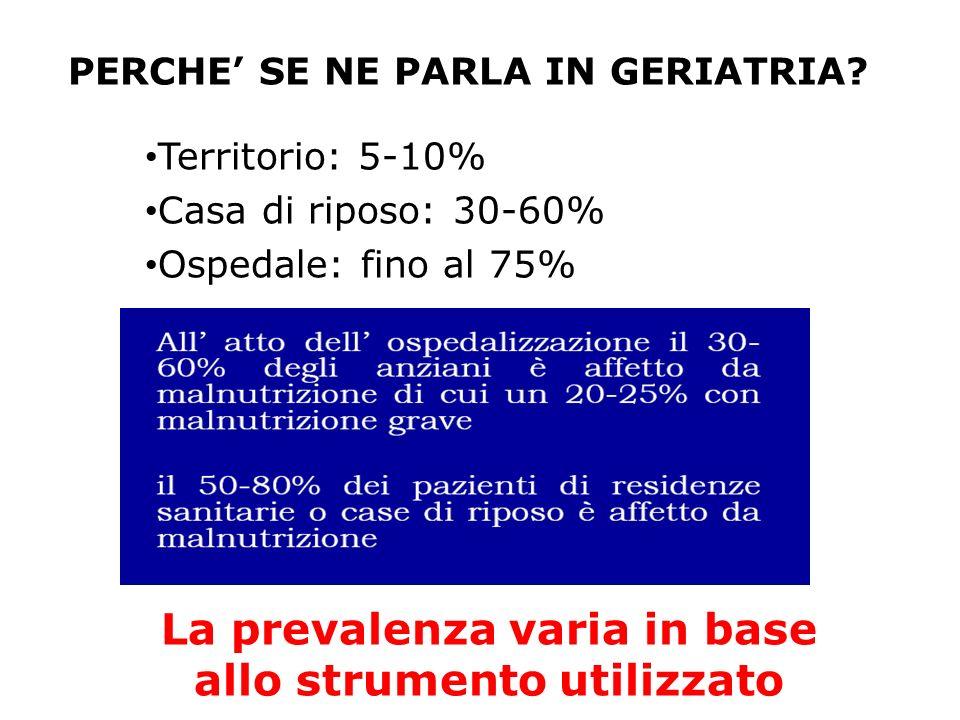 PERCHE SE NE PARLA IN GERIATRIA? Territorio: 5-10% Casa di riposo: 30-60% Ospedale: fino al 75% La prevalenza varia in base allo strumento utilizzato