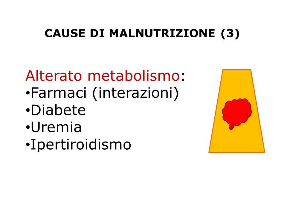 CAUSE DI MALNUTRIZIONE (3) Alterato metabolismo: Farmaci (interazioni) Diabete Uremia Ipertiroidismo