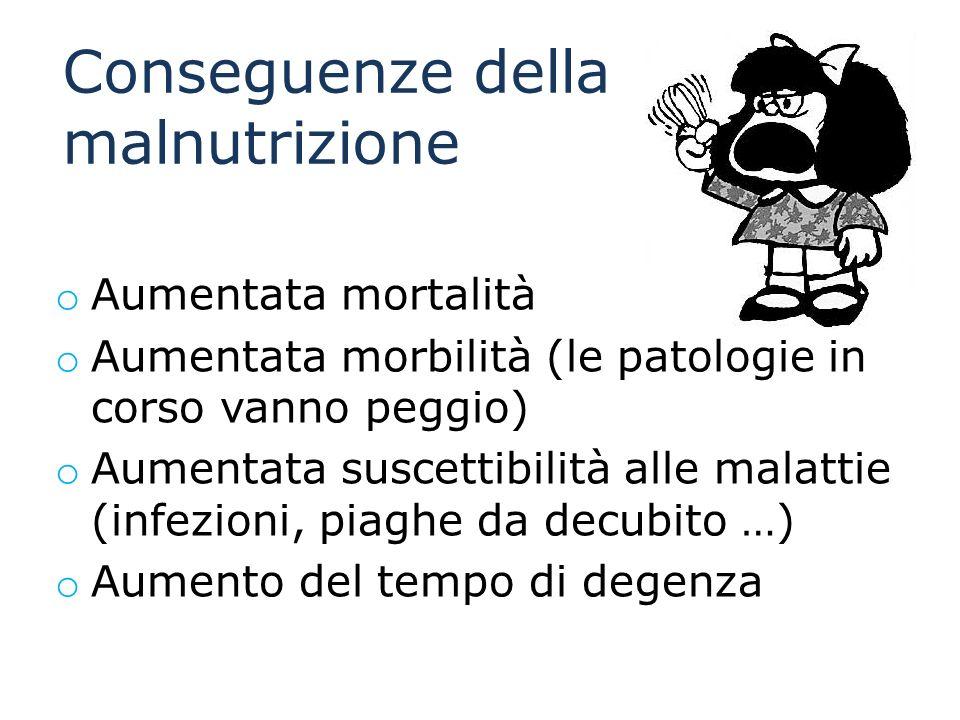 Conseguenze della malnutrizione o Aumentata mortalità o Aumentata morbilità (le patologie in corso vanno peggio) o Aumentata suscettibilità alle malat