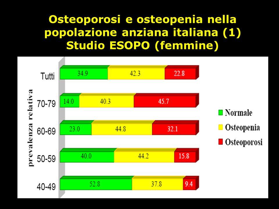 Osteoporosi e osteopenia nella popolazione anziana italiana (1) Studio ESOPO (femmine)