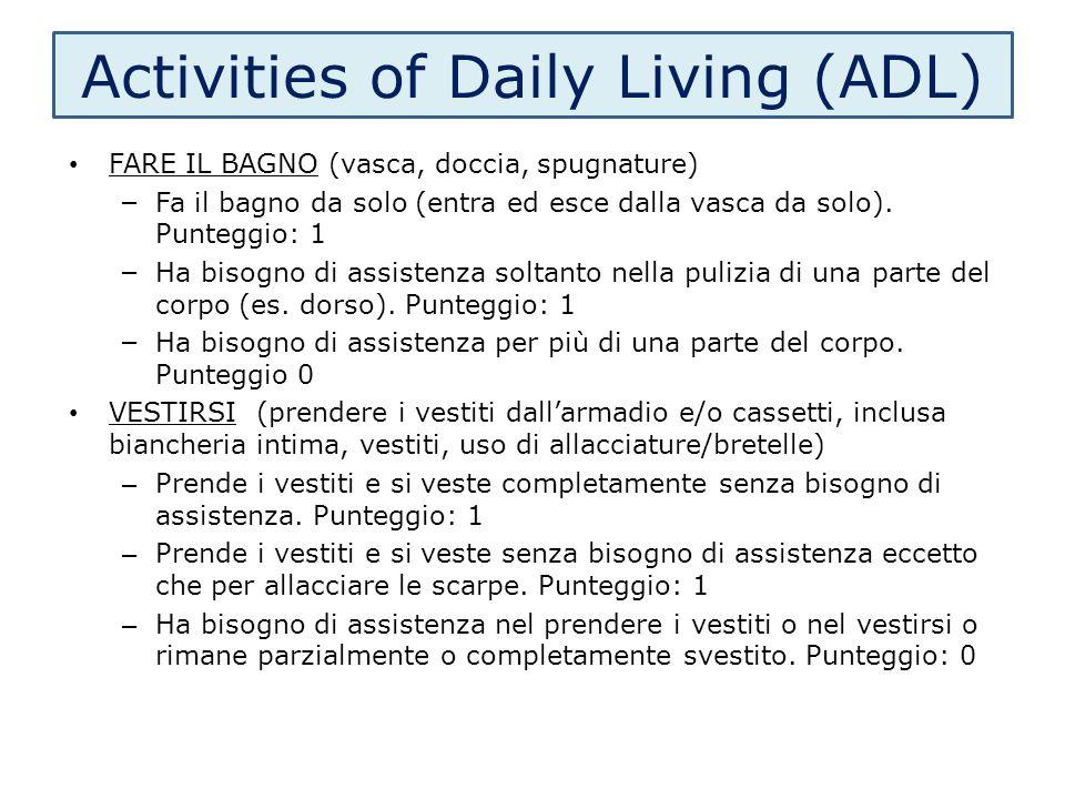 Activities of Daily Living (ADL) FARE IL BAGNO (vasca, doccia, spugnature) – Fa il bagno da solo (entra ed esce dalla vasca da solo). Punteggio: 1 – H