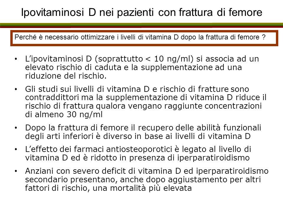 Ipovitaminosi D nei pazienti con frattura di femore Perché è necessario ottimizzare i livelli di vitamina D dopo la frattura di femore ? Lipovitaminos
