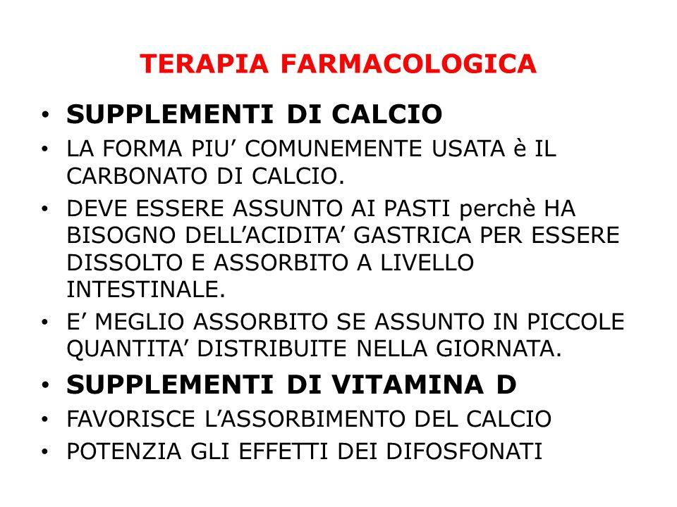 TERAPIA FARMACOLOGICA SUPPLEMENTI DI CALCIO LA FORMA PIU COMUNEMENTE USATA è IL CARBONATO DI CALCIO. DEVE ESSERE ASSUNTO AI PASTI perchè HA BISOGNO DE