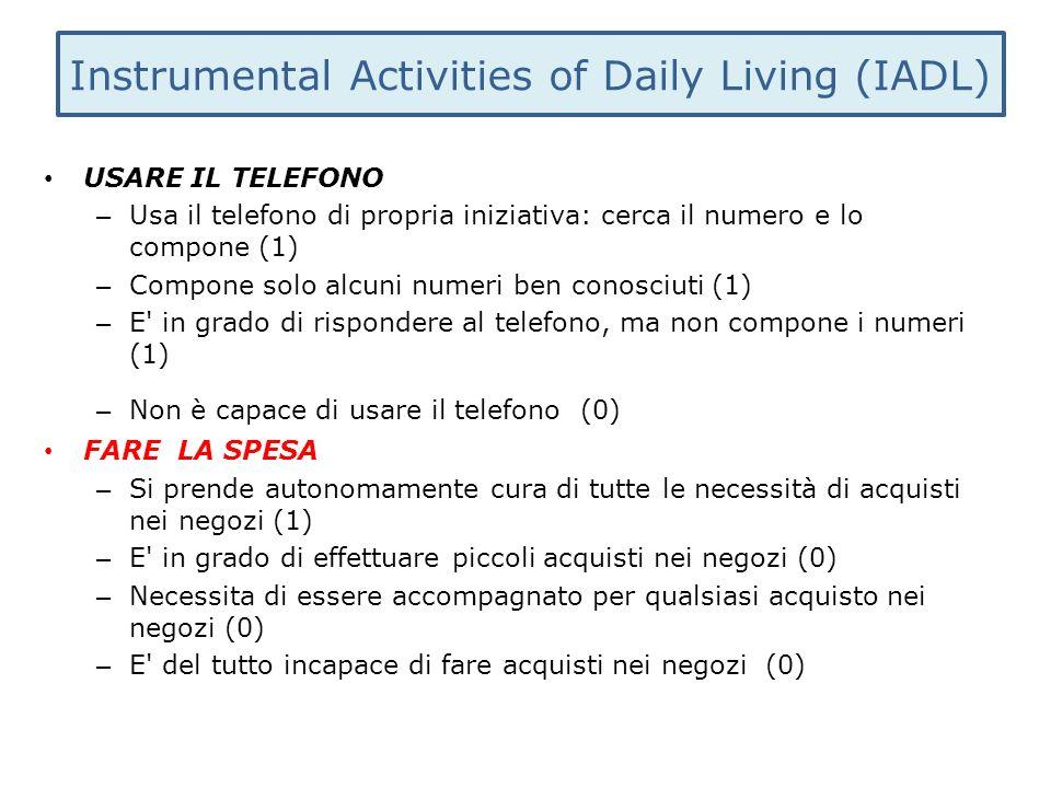 Instrumental Activities of Daily Living (IADL) USARE IL TELEFONO – Usa il telefono di propria iniziativa: cerca il numero e lo compone (1) – Compone s