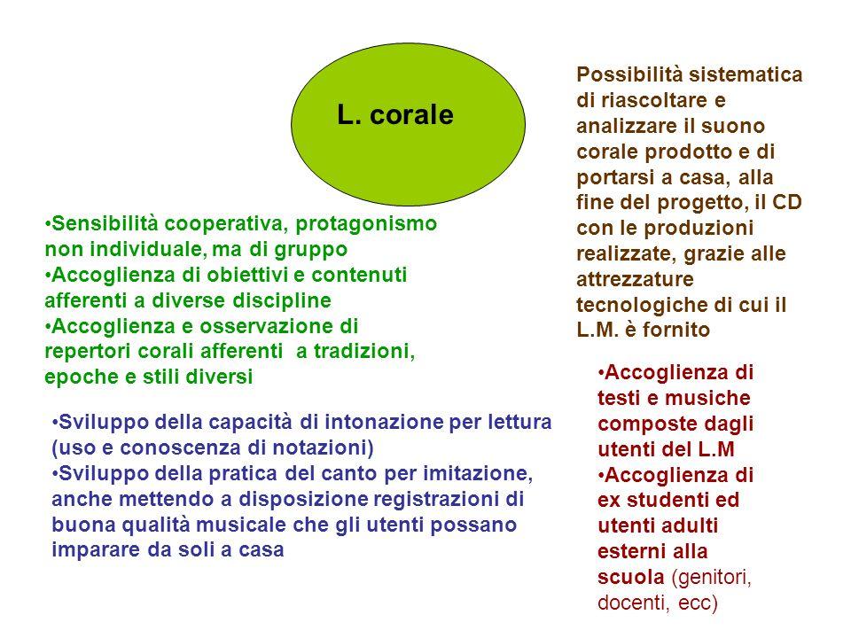 L. corale Sensibilità cooperativa, protagonismo non individuale, ma di gruppo Accoglienza di obiettivi e contenuti afferenti a diverse discipline Acco