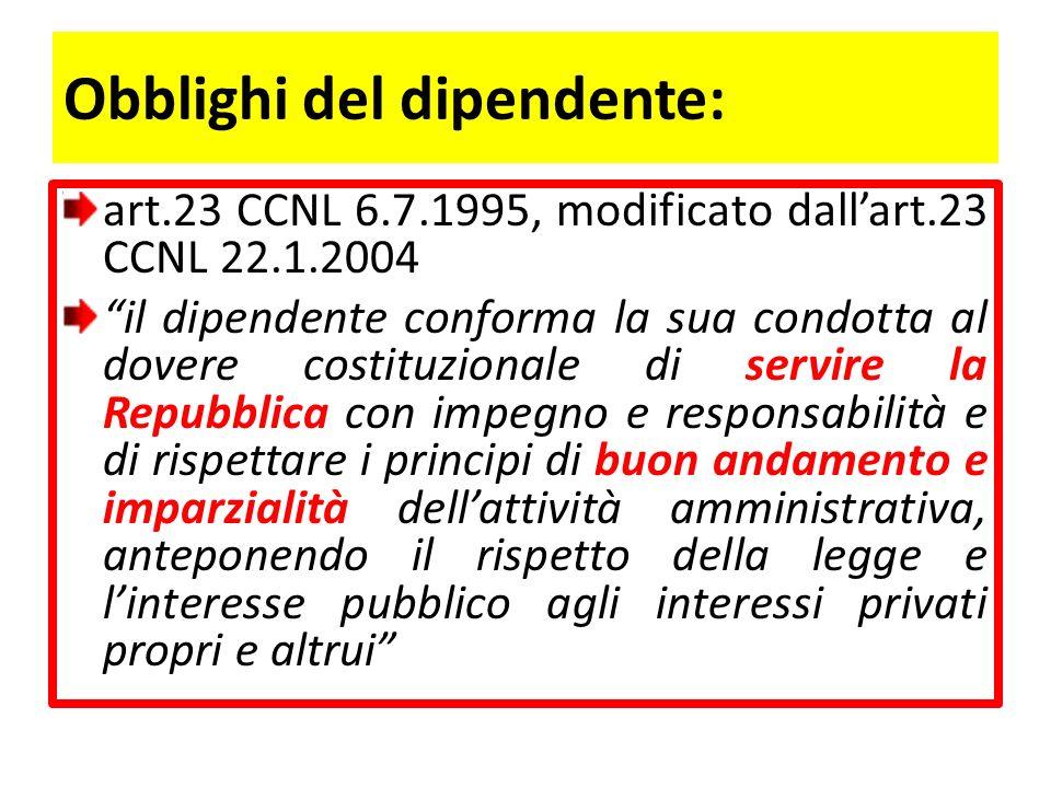 Obblighi del dipendente (segue): il dipendente adegua il proprio comportamento ai principi … contenuti nel codice di condotta Cfr.