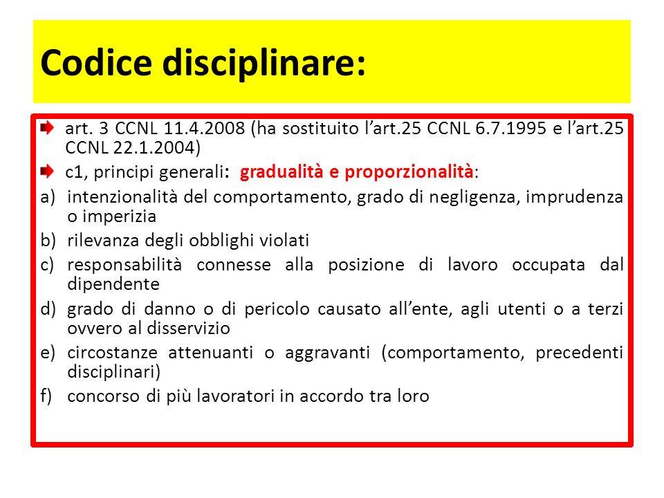 Codice disciplinare (segue): commi successivi: illeciti e sanzioni.