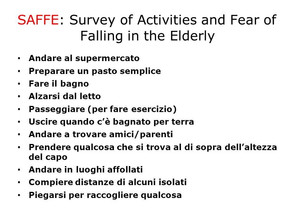 SAFFE: Survey of Activities and Fear of Falling in the Elderly Andare al supermercato Preparare un pasto semplice Fare il bagno Alzarsi dal letto Pass