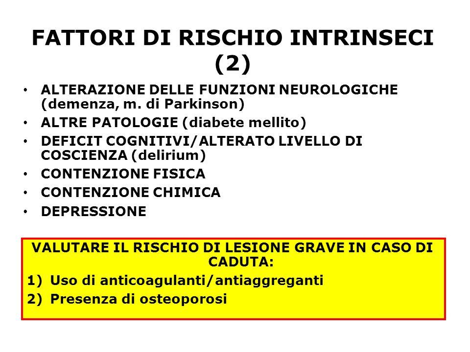 FATTORI DI RISCHIO INTRINSECI (2) ALTERAZIONE DELLE FUNZIONI NEUROLOGICHE (demenza, m. di Parkinson) ALTRE PATOLOGIE (diabete mellito) DEFICIT COGNITI