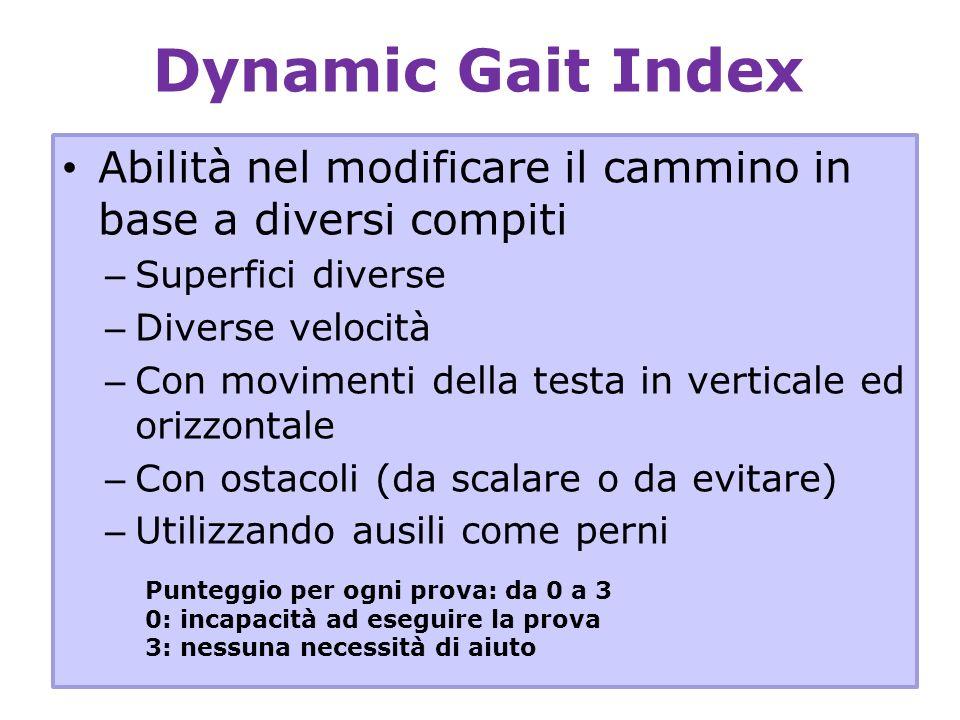 Dynamic Gait Index Abilità nel modificare il cammino in base a diversi compiti – Superfici diverse – Diverse velocità – Con movimenti della testa in v