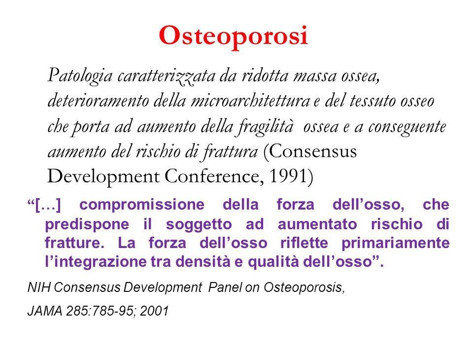 Osteoporosi Patologia caratterizzata da ridotta massa ossea, deterioramento della microarchitettura e del tessuto osseo che porta ad aumento della fra