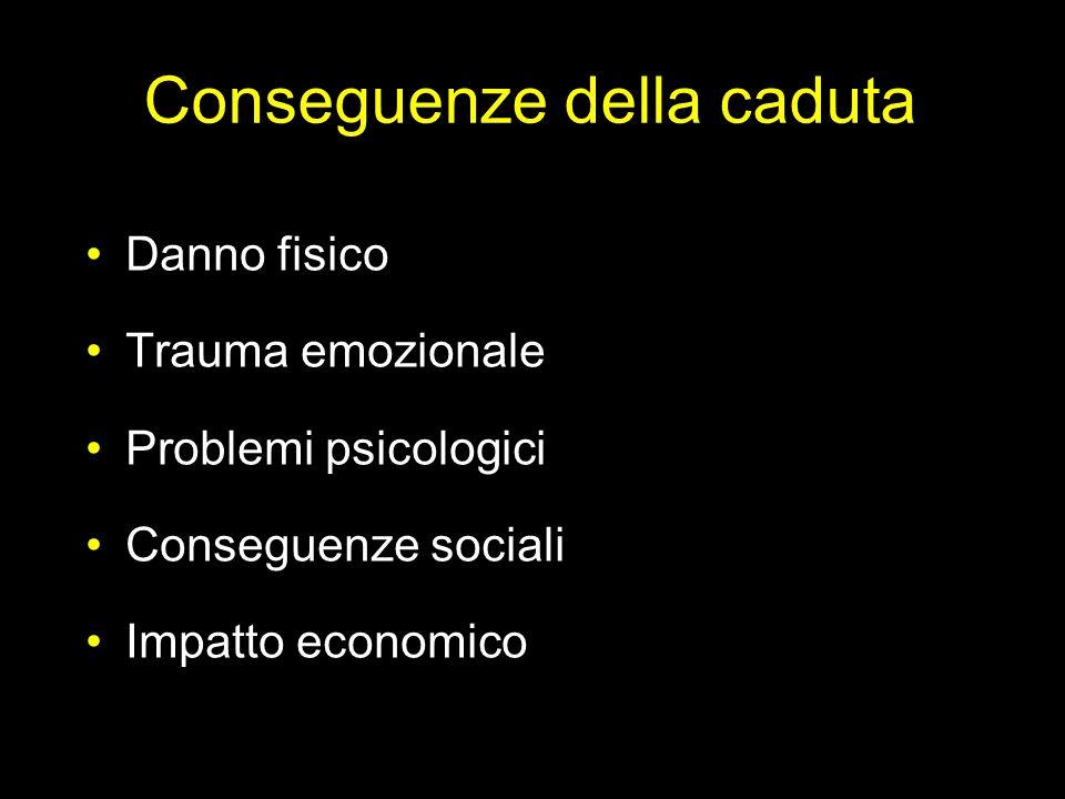 Conseguenze della caduta Danno fisico Trauma emozionale Problemi psicologici Conseguenze sociali Impatto economico